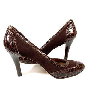 Croc Leather Heels Round Toe Pumps